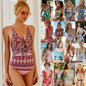 Women Floral One Piece Swimwear Swimsuit Push Up Padded Bikini Bathing suit