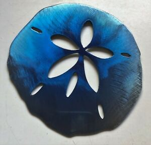 "Sand Dollar Tropical - Metal Wall Art - Blue Tinged 5"" x 4 3/4"""