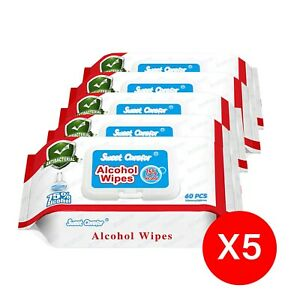 5 Pack (300 Pieces) Wipes 75% Alcohol Hand Surface Use
