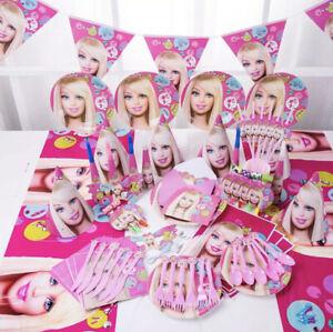 Barbie Doll birthday party supplies, Barbie kit party , 90PCS Set