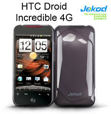 Jekod black TPU gel silicone case cover+screen protec. for HTC Incredible 4G LTE