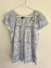 COLORADO Women's Blue White Floral Geometric Lace Blouse Sz 12 L Cotton