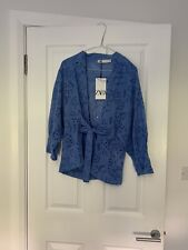 Zara BLOUSE WITH CUTWORK EMBROIDERY BLUE JACKET Kimono XS