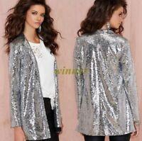 Ladies Hot Shine Silver Sequin Coat Long Sleeve Suit Slim Blazer Jackets Sz