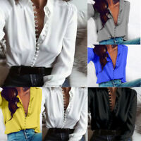 S-2XL Womens Ladies Sexy V-Neck Long Sleeve Satin Loose Blouse Casual Shirt Tops