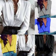 Mujer Sexy cuello en V manga larga Satén Holgado Blusa Camisa Informal Suéter