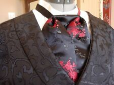 Puff Tie Gentleman Mans Cravat Old West Black Red Silk Brocade Steampunk Sass
