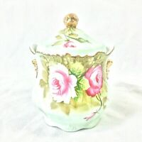 LEFTON CHINA GREEN HERITAGE ROSE LIDDED JAR BISCUIT COOKIE COTTON BALL #6131