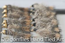 12 Gold Head & Standard GRHE, Hares Ear  Nymphs Trout Fishing Flies Dragonflies