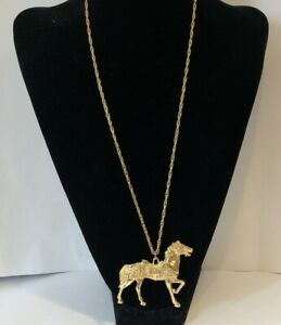 Gold Toned Festive Unique Intricately Detailed  Carousel Horse Inspired Necklace