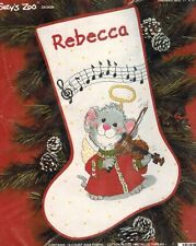 SUZYS ZOO Christmas Counted Cross Stitch Kit MUSICAL MOUSE STOCKING Violin 1989