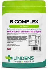 **Lindens Vitamin B Complex Tablets (100)Contains All Balanced B Vitamins, Folic