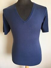 GUCCI Collo a V T-shirt, Blu Navy, Taglia Media Rrp £ 285 * MADE IN ITALY *