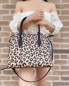 Kate Spade Darcy Large Top Zip Satchel Black Leather Crossbody Graphic Leopard