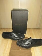 Mens GUCCI Black Leather Shoes Loafers Size EU 43.5 E / UK 9.5 box+dustbag VGC!