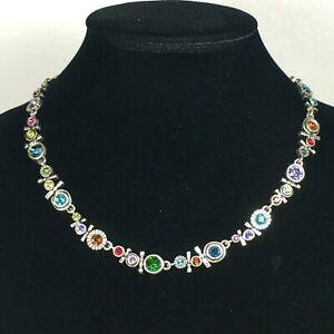 """Patricia Locke Silver Plate 18"""" Necklace Multicolor Crystals Signed Made in USA"""