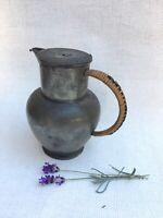 C19th Century Antique Marks Pewter Lidded Jug Wicker Handle