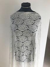 Stretch Lace Dressmaking Fabric Stunning Cream/Gold Filigree Floral Design