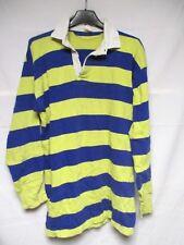 Maillot rugby UMBRO années 80 bleu rayé jaune vintage coton jersey shirt S / M