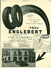 Publicité ancienne voiture automobile pneu Englebert 1926  issue de magazine