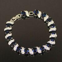 Blue Sapphire White Topaz Tennis Bracelet Dipped Sterling Silver 7-8 adjustable