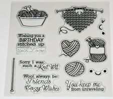Knitting Themed Clear Stamps - Wool, Needles, Sentiments – BNIP – FREE P & P