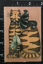 KITTY CAT'S BIG FISH BUNCH CATCH Alma Lynne Inkadinkado Wood MountedRubber Stamp