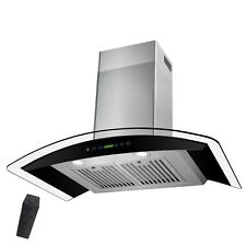 """30"""" Stainless Steel Tempered Glass Wall Mount Touch Panel Kitchen Range Hood"""