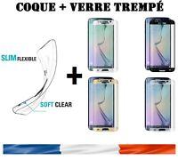 Coque +Film écran verre trempé Samsung Galaxy S6 S7 S8 Edge Plus S9