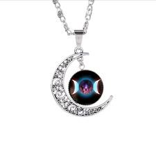 Retro Moon Goddess Star Time Gemstone Necklace Galaxy Sun God Pendant