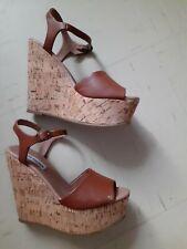 Steve Madden Tan Cork platform Wedges brown 3.5/4 shoes sandals