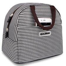 Fashion Zipper Lunch Bag Picnic Box Cosmetic For Women Girls Tote Handbag Brown