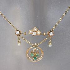 Antikes Collier mit Diamant, Smaragd und Perlen Besatz in 585/14K Rotgold