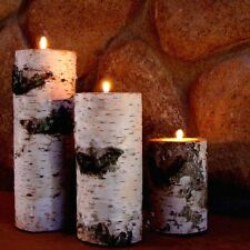 REAL BIRCH BARK LOG TEALIGHT CANDLE HOLDER 3 SET! PACKAGED IN A RED GIFT BOX!