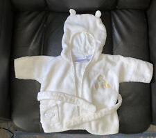 1st Impressions White Cotton Terry Cloth Hooded Baby Bear Bathrobe 3-6M Ears