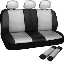 Car Seat Cover White Black 8pc Set Bench for Auto w/Belt Pads Synthetic Leather