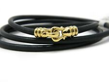 David Yurman Narrow Multi Wrap Black Leather Bracelet 18k YG Buckle Clasp