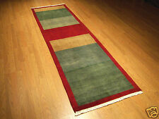 2.6 x 9 Hand Knotted High Quality Veggie Dye Gabbeh Runner Soft Silky Fine Wool