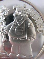 1-OZ. 999 PURE SILVER CARTOON CELEBRITIES AMC  BEETLE BAILEY & SARGE COIN +GOLD