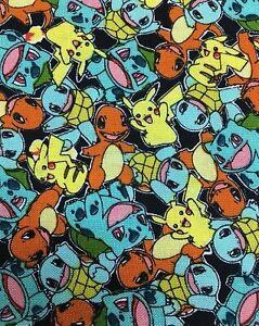 Fabric Pokemon Micro Classic on Black Cotton KAUFMAN Black 1/4 Yard 73353-2BLACK