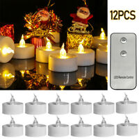 12PCS Flameless LED Candles Remote Control Flickering Birthday Wedding Tea Light
