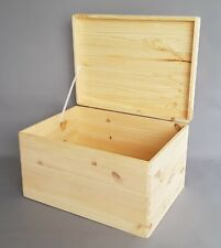 Plain Wood Storage Box with No Handles Lid Hinges Craft Furniture Keepsake Boxes