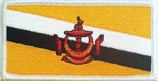Brunei Flag Patch With VELCRO® Brand Fastener Military White Border #7