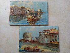 """tableaux anciens marine paire """" VUE MARTIGUE """"   RUDOLPH CERMAK 1883 - 1947"""