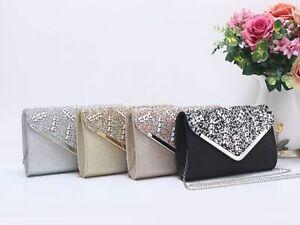 New Women's Flower Colour Gems & Diamante Evening Clutch Bag/Party Wedding Prom