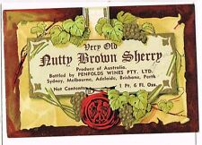 1930s Australia Penfolds Adelaide Nutty Brown Sherry Label Tavern Trove