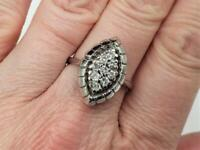 0.50ctw Diamond Cluster Marquise Shaped 14k White Gold Cocktail Ring Size 9