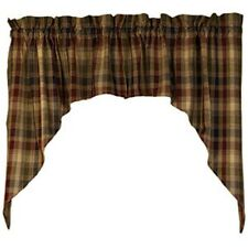 New Primitive Rustic Cabin Wine Navy Green Plaid Homespun Cafe Curtain Swags