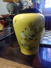 China antique Porcelain colour enamels beautiful yellow birds o Bamboo bird vase