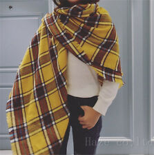 Women Oversized Plaid Scarf Shawl Stole Warm Tartan Wrap Pashmina Yellow AU*